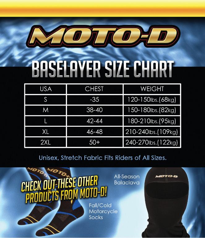 MOTO-D Motorcycle Baselayer Size Chart