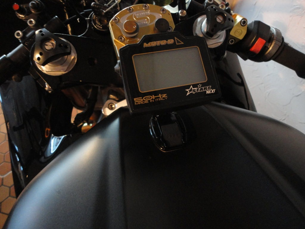 LCD Backlit Display on the MOTO-D GPS Motorcycle Lap Timer