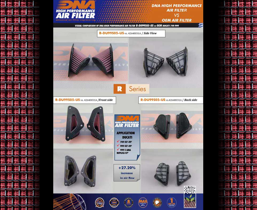 DNA air filters for your ducati are far superior to the oem filters