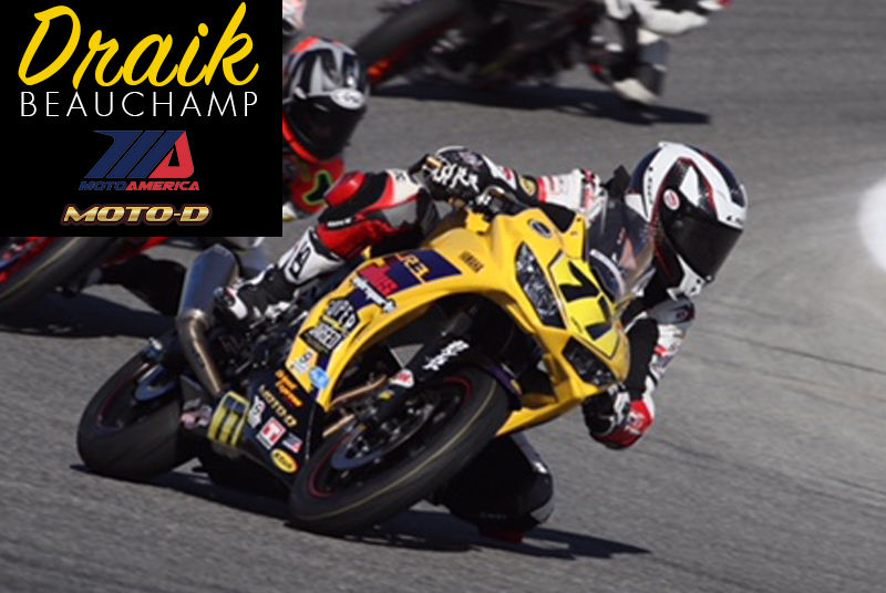 Draik Beauchamp riding his Yamaha R3 Spark full exhaust in MotoAmerica