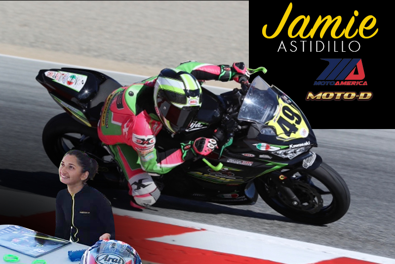 Jamie Astudillo wore a MOTO-D cool undersuit during the MotoAmerica race at Laguna Seca