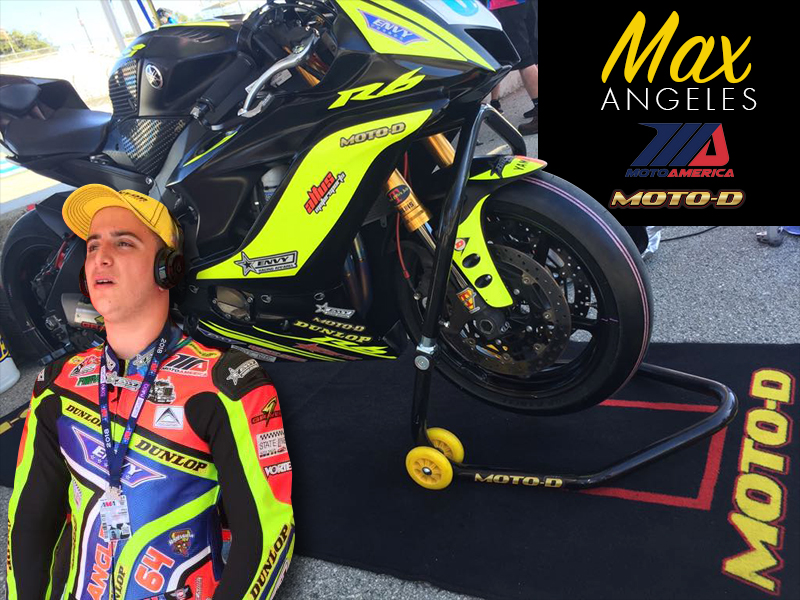 Max Angeles MotoAmerica R6 on a MOTO-D paddock bike mat