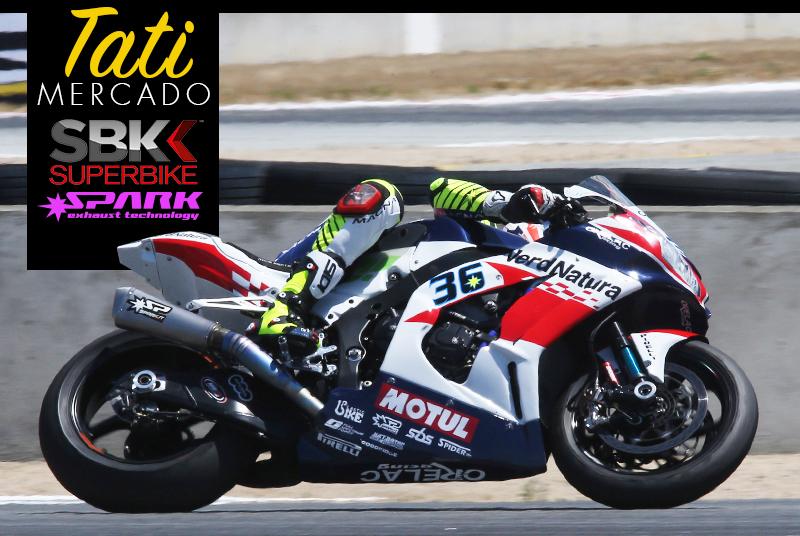 Tati Mercado at Laguna Seca WSBK aboard his titanium Spark Exhaust Kawasaki Ninja