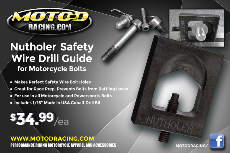 You need this Racers - Safety Wire Drill Guide for Motorcycle Bolts
