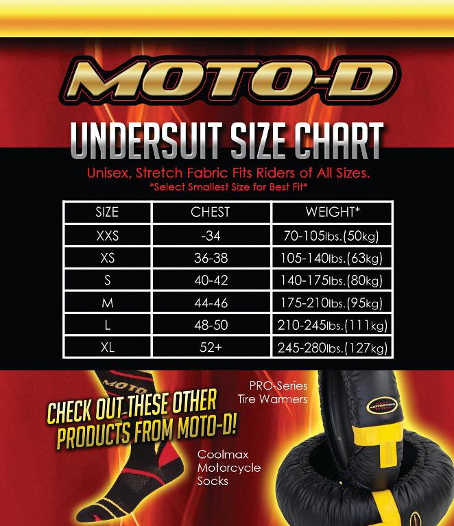 MOTO-D Motorcycle Undersuit Size Chart